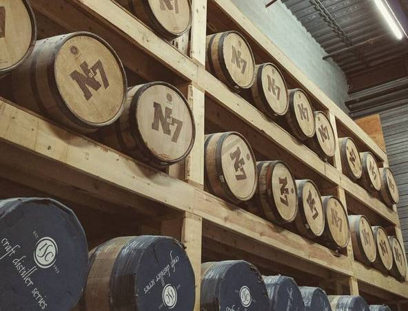 North of 7 Whisky Barrels stored in warehouse