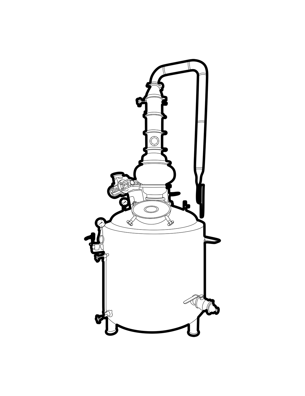 Line drawing of a distillery still